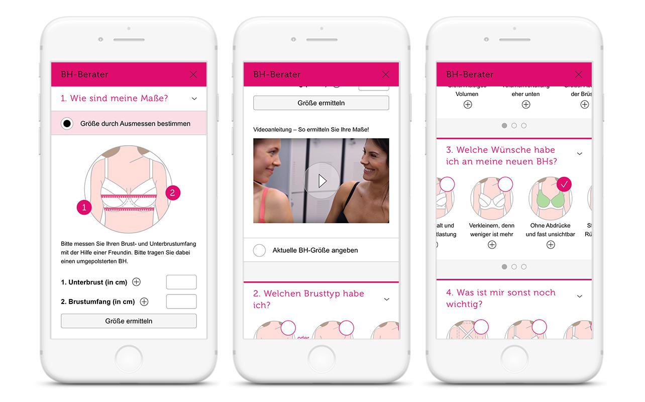 Verschiedene Ansichten des bonprix BH-Berater auf mobilen Endgeräten