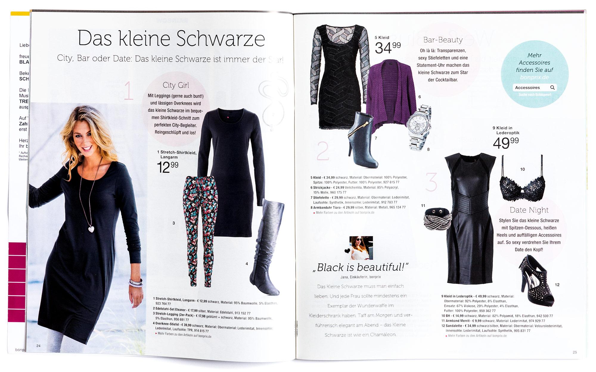 H2D2 Katalogdesign bonprix Mode und Schmuck – Verweis auf Online-Shop