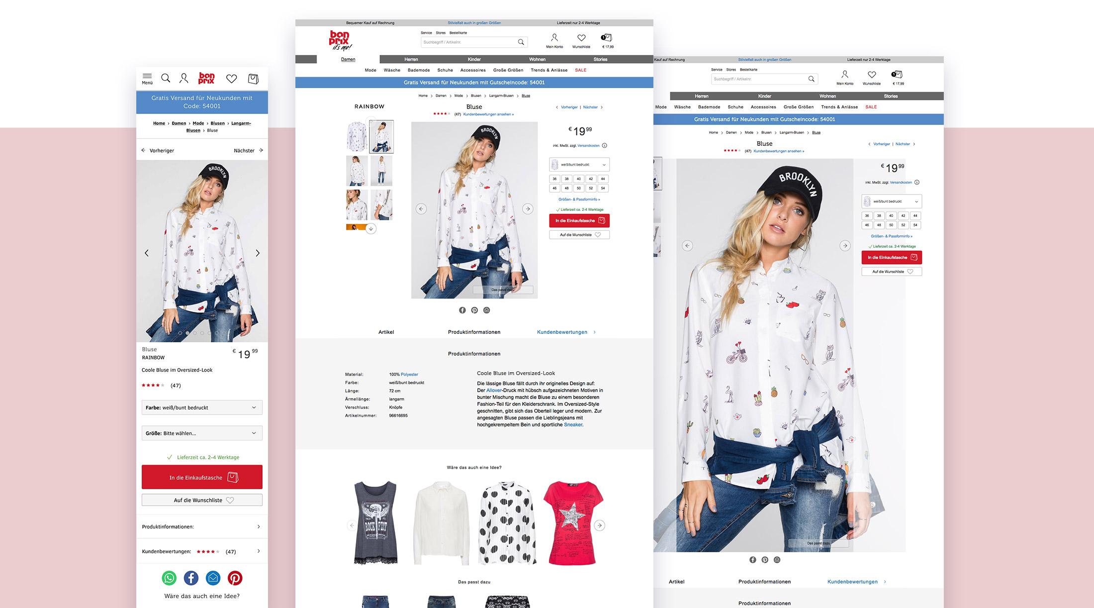 Artikeldetailseite des bonprix Online Shops in responisiven Ausprägungen