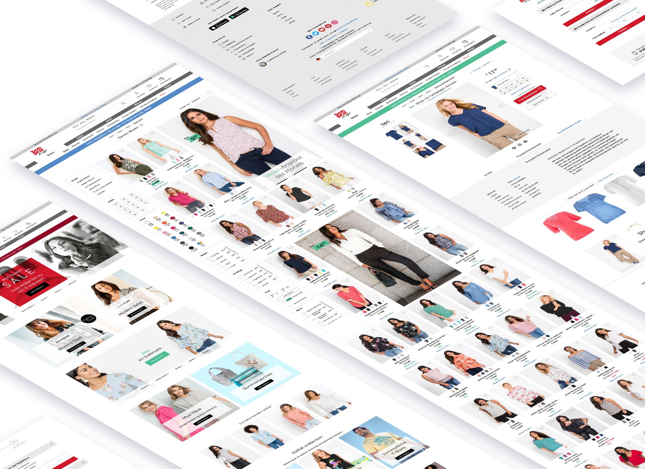 Startseite, Artikelübersichtsseite und Artikeldetailseite des bonprix Online Shops