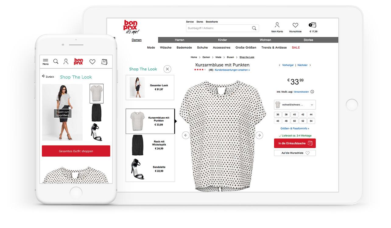 """Die Beratungsfunktion """"Shop the Look"""" im Online Shop von bonprix"""