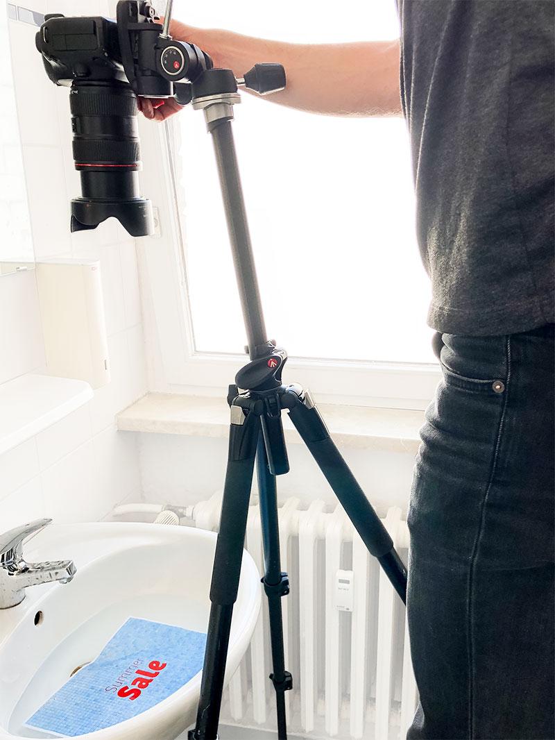 Das Kamera-Setup im Badezimmer