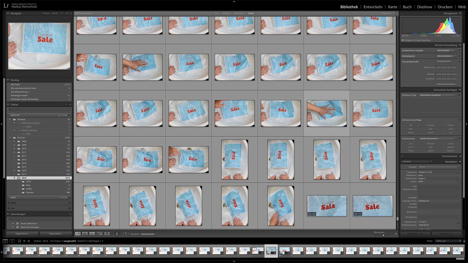 Die Serienbilder in Adobe Lightroom