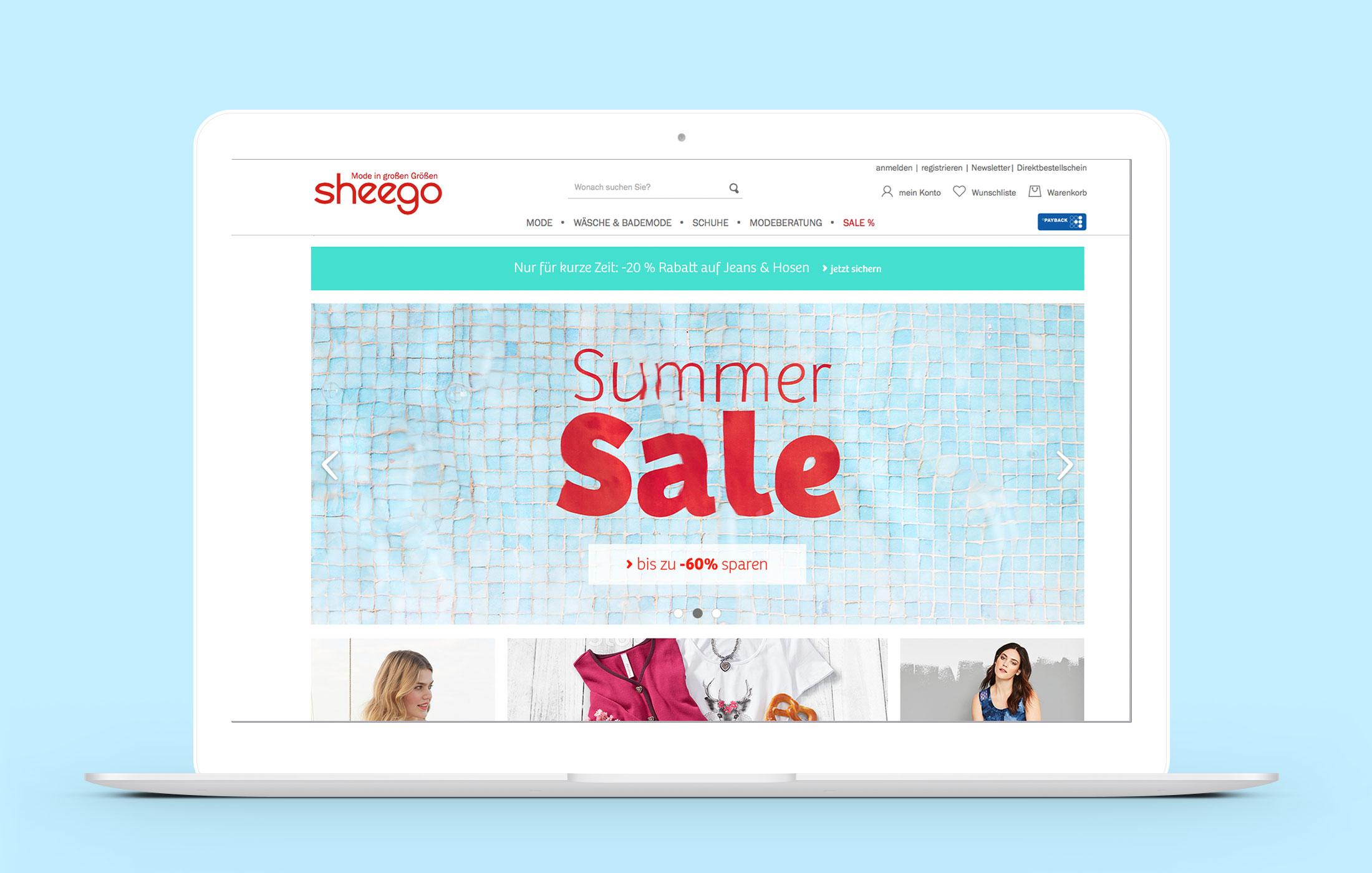 Das Keyvisual eingesetzt im sheego Onlineshop