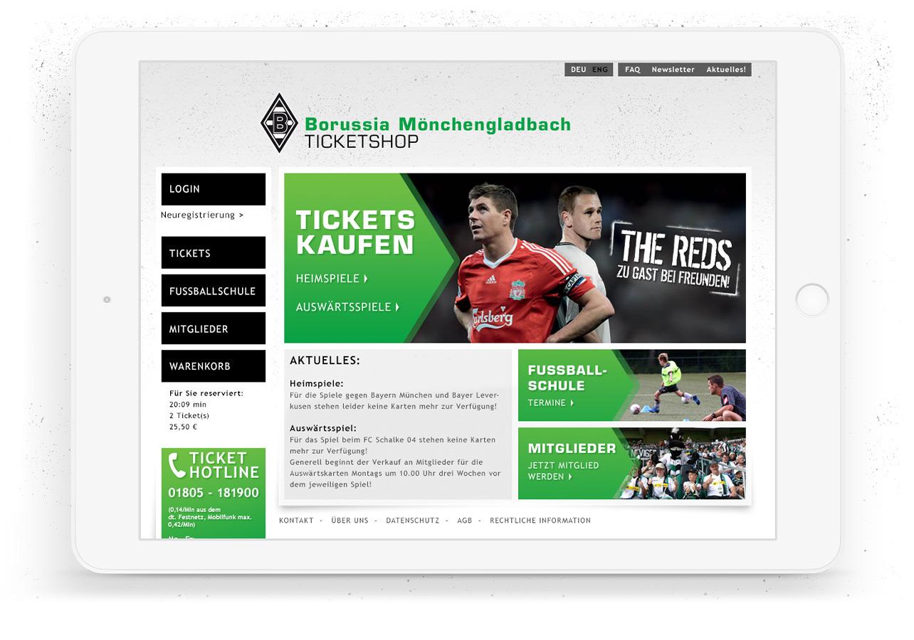 Startseite des Ticketshops vom Vfl Borussia Mönchengladbach