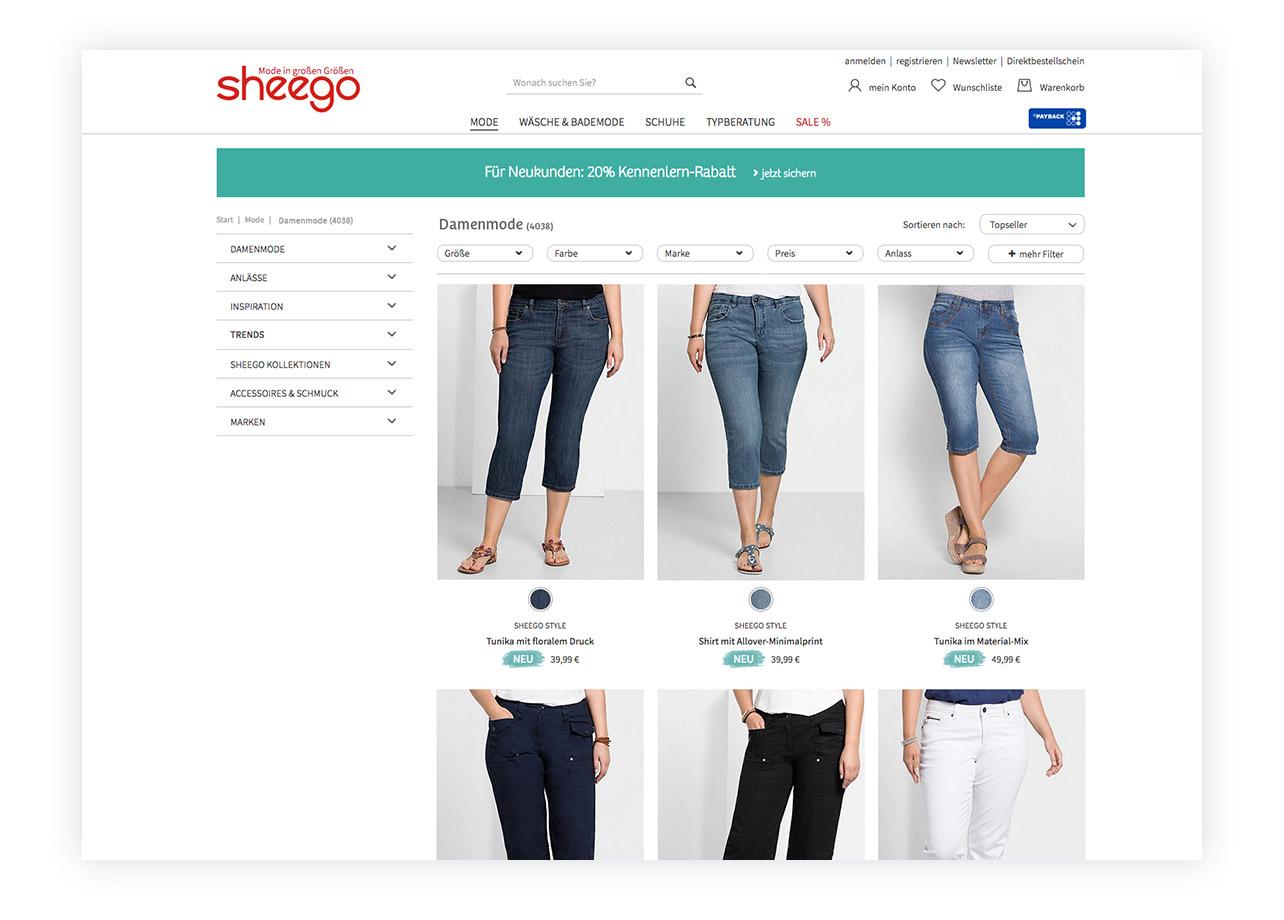 Alte Darstellung der Artikelübersicht des sheego-Shops