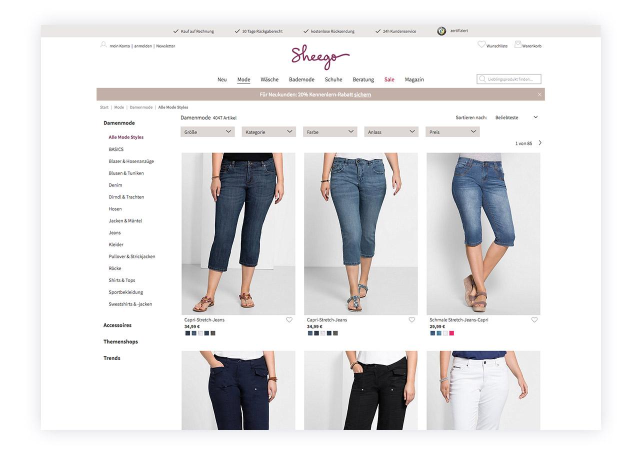 Neue Darstellung der Artikelübersicht des sheego-Shops
