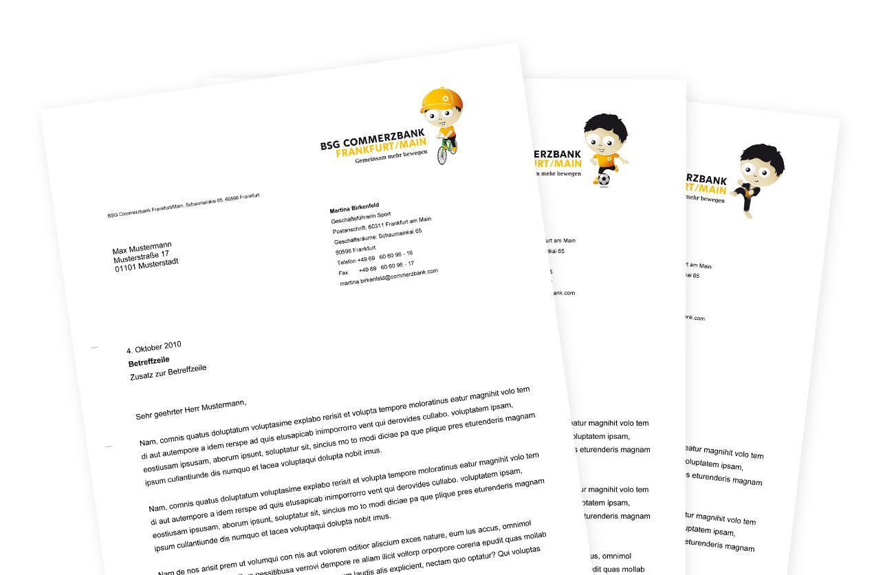 Briefpapier der Betriebssportgemeinschaft der COMMERZBANK