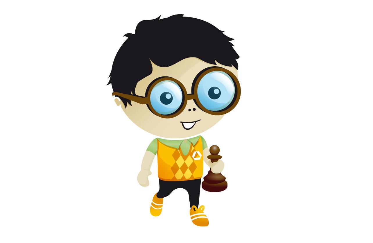 """Illustration des Maskottchens """"Frankie"""" als Schachspieler"""