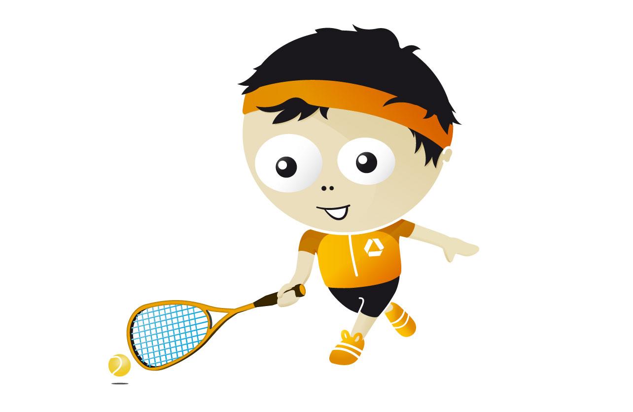 """Illustration des Maskottchens """"Frankie"""" beim Squash"""