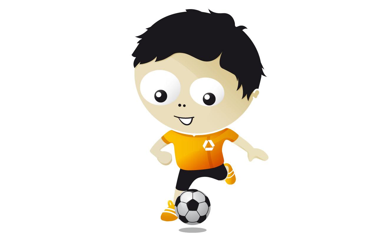 """Illustration des Maskottchens """"Frankie"""" als Fußballspieler"""