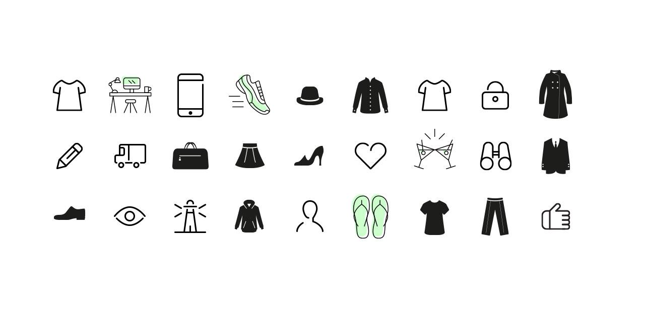 Eine Zusammenstellung unterschiedlicher Icons für diverse Kundenprojekte