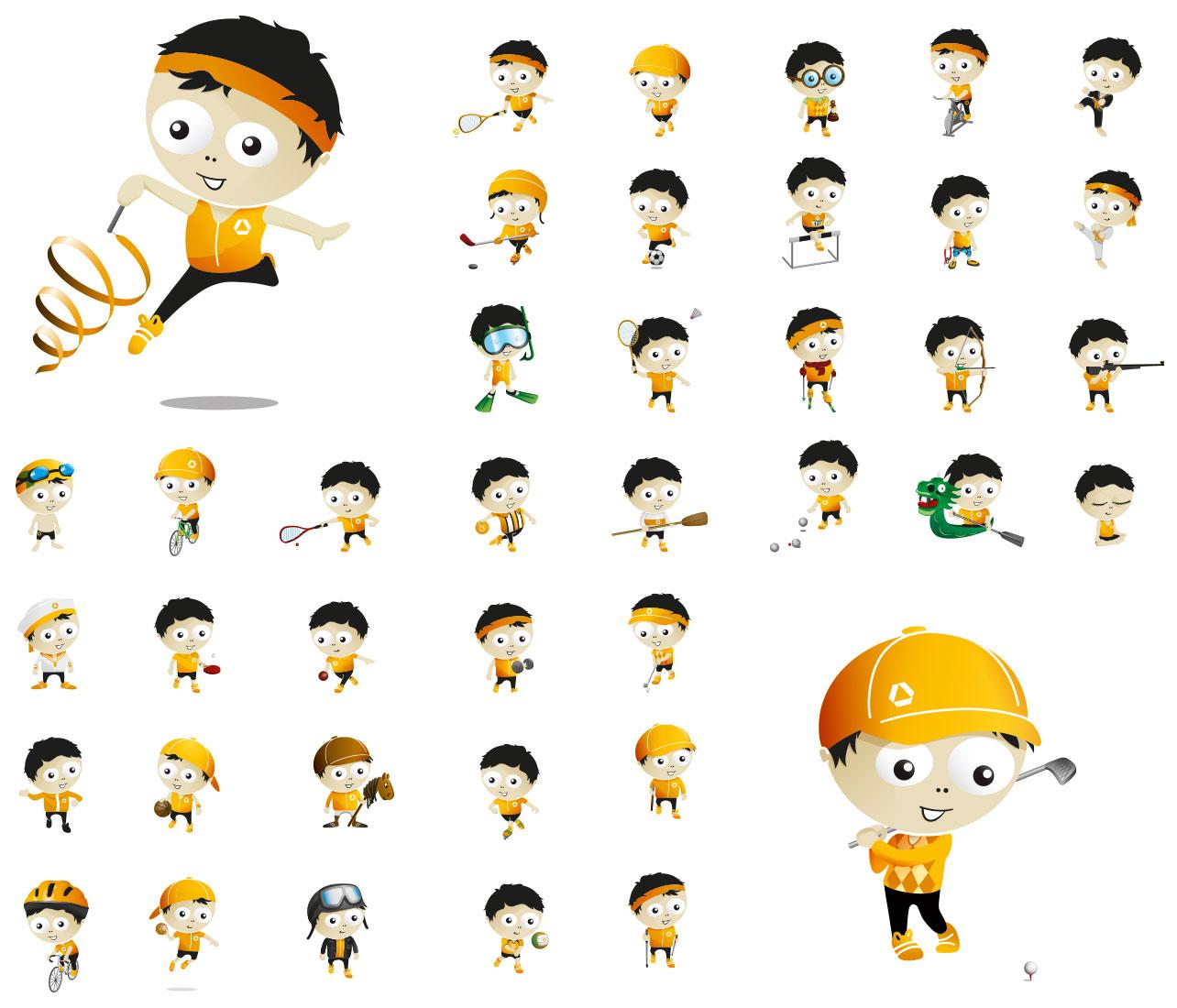 Character-Illustrationen für die Betriebssportgemeinschaft der COMMERZBANK